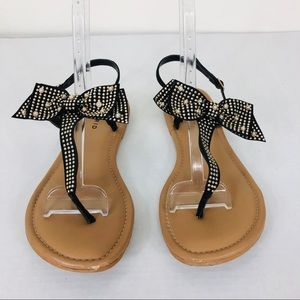 torrid Shoes - Torrid Black & Gold Studded Bow Sandals Size 12W